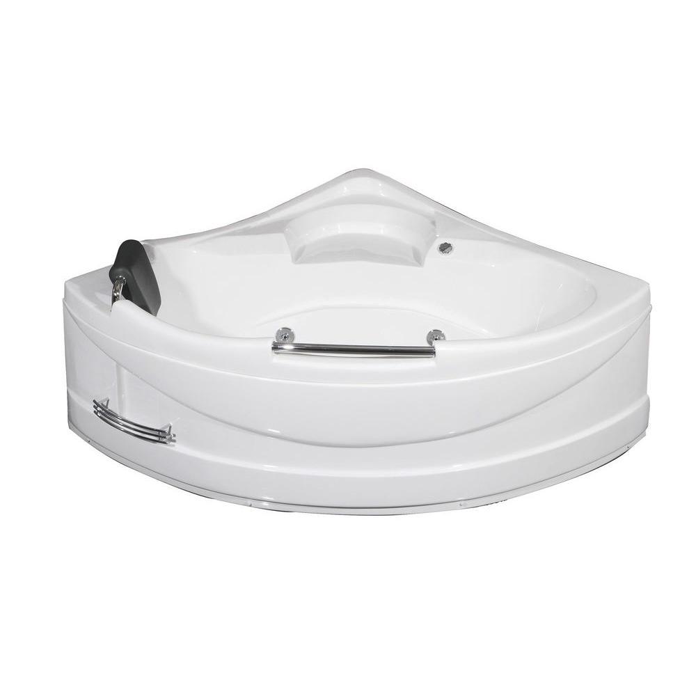 Aston 4.9 ft. Corner Whirlpool Tub in White-MT618