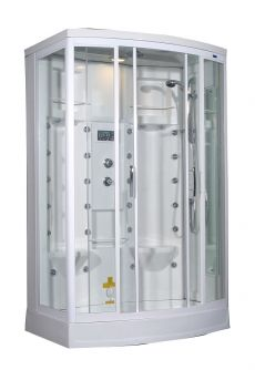 "Aston Steam Shower with 24 Body Jets in White, ZA213-L/R 56""x 37""x 85"""
