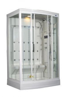 "Aston 2-Person Steam Shower with 24 Body Jets in White-ZA219 L/R- 52""x 39.4""x 85.4"""