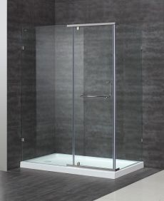 "Aston Semi-Frameless Hinge Door Shower Enclosure-SEN975 (Finish: Chrome, Size: 48"" x 35"" x 75"")"