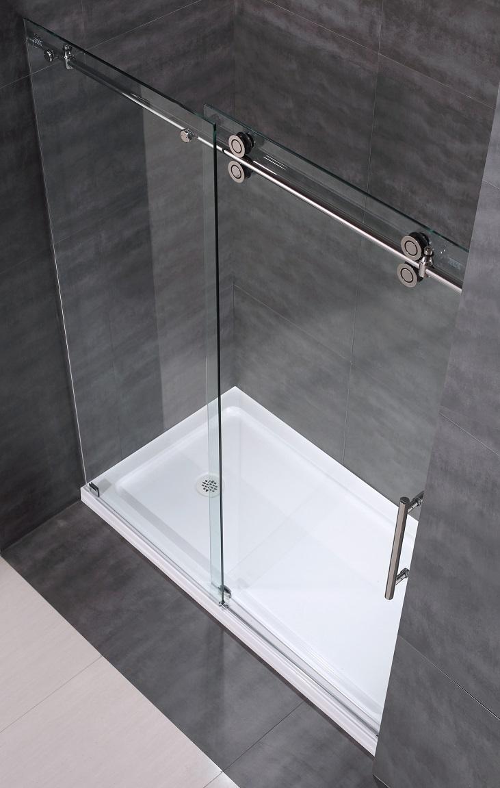 Langham Completely Frameless Sliding Alcove Shower Door With Base Sdr978 Tr
