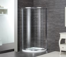 "Aston Semi-Frameless Round Shower Enclosure-SD908 (Finish: Chrome, Size: 36"" x 36"" x 75"")"