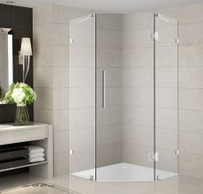 "Neoscape Completely Frameless Neo-Angle Shower Enclosure-SEN986 (Finish: Chrome, Size: 34"" x 34"" x 72"")"