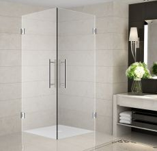 "Vanora Completely Frameless Square Shower Enclosure-SEN989 (Finish: Chrome, Size: 30"" x 30"" x 72"")"