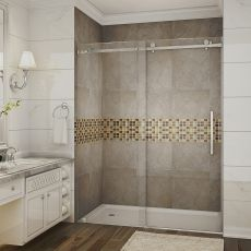 "Moselle Completely Frameless Sliding Shower Door With Base-SDR976-TR (Finish: Chrome, Size: 48"" x 36"" 77.5"", Drain Style: Middle)"