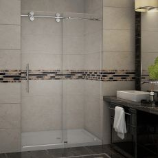 "Langham Completely Frameless Sliding Alcove Shower Door-SDR978 (Finish: Chrome, Size: 48"" x 75"")"
