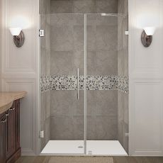 "Nautis Completely Frameless Hinged Shower Door-SDR985 (Finish: Stainless Steel, Size: 68"" x 72"")"