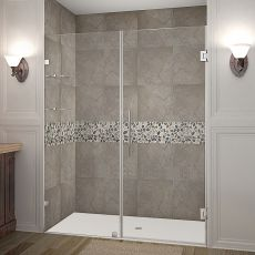 "Nautis Completely Frameless Hinged Shower Door With Glass Shelves-SDR990 (Finish: Chrome, Size: 36"" x 72"")"
