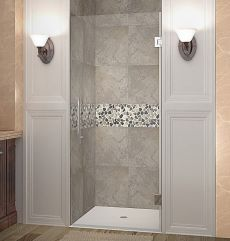 "Cascadia Completely Frameless Hinged Shower Door-SDR995 (Finish: Chrome, Size: 22"" x 72"")"