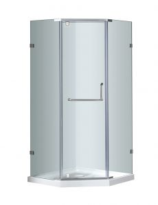 "Aston Neo-Angle Semi-Frameless Shower Enclosure-SEN973 (Finish: Chrome, Size: 36"" x 36"" x 75"")"
