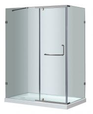 "Aston Large Semi-Frameless Hinge Door Shower Enclosure With Base-SEN975-TR (Finish: Chrome, Size: 48"" x 35"" x 77.5"", Drain Style: Left)"