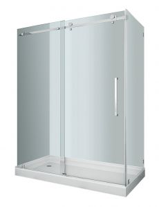 "Moselle Completely Frameless Sliding Shower Door Enclosure-SEN976 (Finish: Chrome, Size: 48"" x 35"" x 75"")"