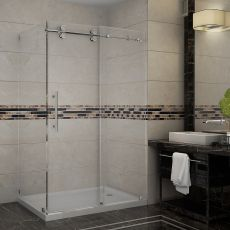 "Langham Completely Frameless Sliding Shower Door Enclosure-SEN979 (Finish: Chrome, Size: 48"" x 35"" x 75"")"