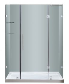 "Soleil  Completely Frameless Hinged Alcove Shower Door with Glass Shelves and Base-SDR983-TR (Finish: Chrome, Size: 60"" x 32"" x 77.5"", Drain Style: Left)"