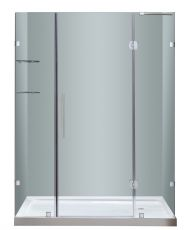 "Soleil Completely Frameless Hinged Alcove Shower Door with Glass Shelves-SDR983 (Finish: Chrome, Size: 60"" x 75"")"