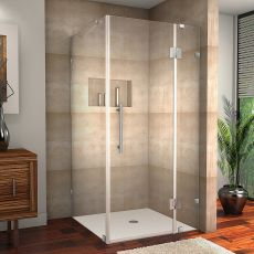 "Avalux Completely Frameless Shower Enclosure-SEN987 (Finish: Stainless Steel, Size: 34"" x 30"" x 72"")"