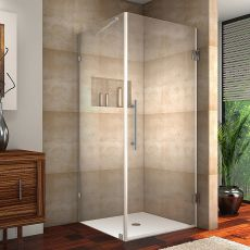 "Aquadica Completely Frameless Square Shower Enclosure-SEN988 (Finish: Chrome, Size: 30"" x 30"" x 72"")"