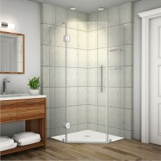 "Neoscape Completely Frameless Neo-Angle Shower Enclosure with Glass Shelves-SEN991 (Finish: Chrome, Size: 34"" x 34"" x 72"")"