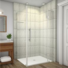 "Avalux GS Completely Frameless Shower Enclosure with Glass Shelves-SEN992 (Finish: Chrome, Size: 32"" x 30"" x 72"")"
