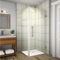 "Aquadica GS Completely Frameless Square Shower Enclosure with Glass Shelves-SEN993 (Finish: Chrome, Size: 30"" x 30"" x 72"")"