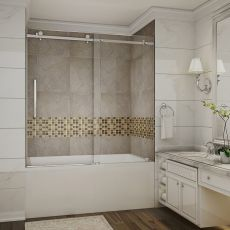 "Moselle  Completely Frameless Tub Sliding Shower Door-TDR976 (Finish: Chrome, Size: 60"" x 60"")"